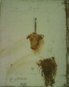 E-Spain,Oil, paintbrush and cock spurs on found canvas,61x50, private collection
